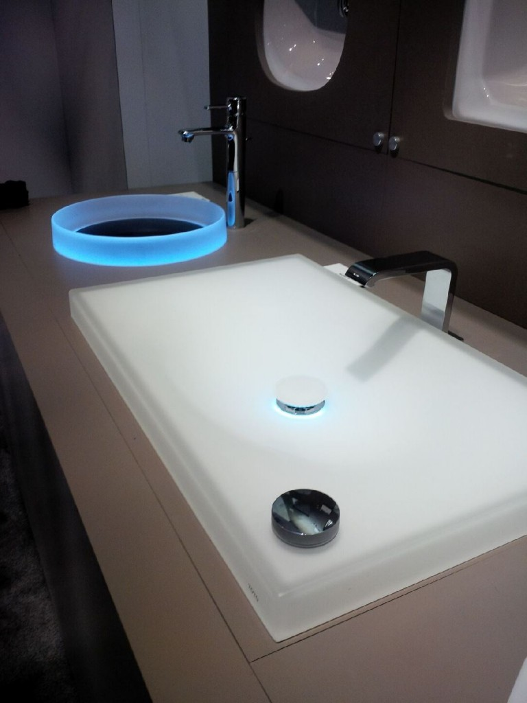 How's this for a bathroom night light? TOTO's Luminist and Neorest LED vessel sinks.