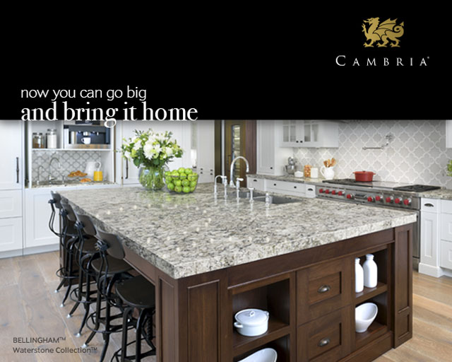 New kitchen and bath holiday debuts for Cambria slab size